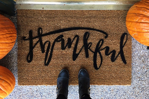 Thanksgiving Doormat- Thankful- Custom Hand Painted