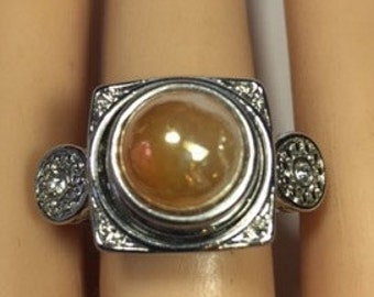 SILVER SNAP RING- Size 71/2 Fits 12mm  snaps ...snap included...