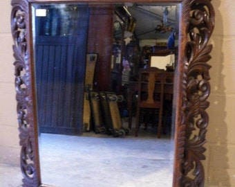 "Large Hand Carved Antique French Mirror, 44"" Tall #3201"