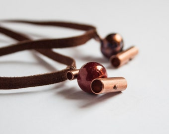 Raku pottery and copper//necklace of alcantara