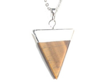 50% OFF Silver Tigers Eye Triangle Necklace #b2
