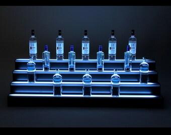 7ft, 4 Step LED Light Shelf Tier, Bottle Step, Bar Bottle Organizer