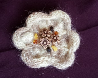 Crochet Brooch Flower Brown Brooch Mohair Amber Corsage Brooch
