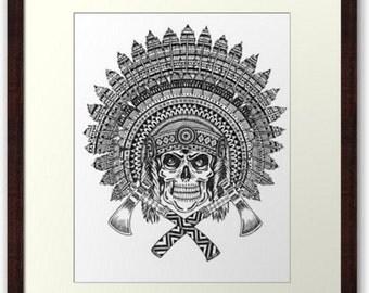 Chief skull Mandala Art Print