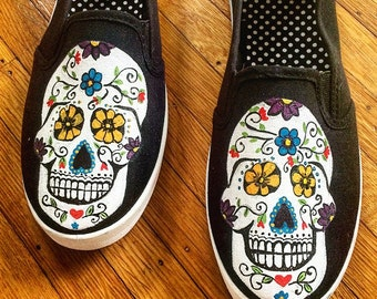 Sugar Skulls Hand Painted Shoes - Day of the Dead Painted Shoes - Kids Shoes - Adult Shoes - Flower Shoes - Canvas Shoes