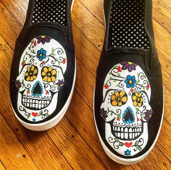 Items similar to Sugar Skulls Hand Painted Shoes - Day of ...