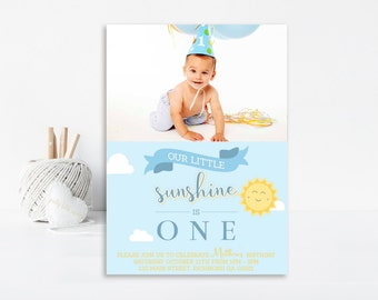 Our Little Sunshine Invitation, Sunshine Birthday Invitation, Printable Invitation, Sunshine Party, Sunshine Birthday, Boys Invitation