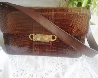 Croco  leather shoulderbag,vintage shoulderbag- (leather and croco skin)period 50/60