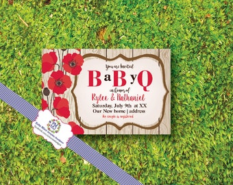 Baby Q, baby shower, BBQ, Bar B Q, poppies, red, old board, country, rustic