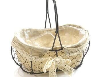 Wire basket,Rustic vintage basket with fixed handle,Metal basket,Wedding basket,White Lace basket,Peanut basket,Flowergirl basket,Baskets