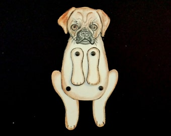 "Doggy Dog Moveable Paper Doll/s ""Pug""(chocolate brown)"