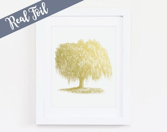 Willow Tree Art Print, Weeping Willow, Willow Tree Wall Art, Nature Decor, Nature Wall Art, Gold Foil Print, Silver Foil, Copper Foil