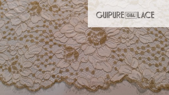 Gold lace fabric,luxury lace fabric, high quality gold French chantilly lace fabric, sold by the yard