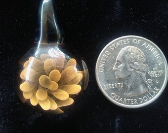 Gold and Silver Fumed Flower Pendant.