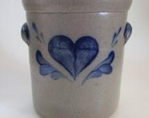 Rowe Pottery Works Salt Glazed Crock Cobalt Heart Pattern-1993