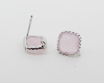 E008706/Ice Pink/Faceted Glass +Rhodium Plated Over Brass Frame+Sterling Silver Post/Tooth Framed Square Glass Earrings/10x 10mm/2pcs