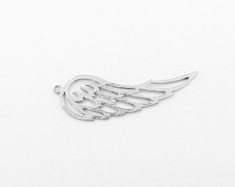 P0084/Anti-Tarnished  Matt Rhodium Plating Over Brass/Large Wing Pendant/14.5x 43.5 mm/2pcs