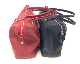 Leather Handbag. Dark coral,Black, large tote bag.Leather tote bag with zipper.Handmade Leather Bag