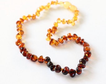 Sunset - Children's Baltic Amber Necklace, Natural Polished Amber Child's Necklaces, Kid's Rainbow Jewellery