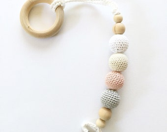 Crocheted Beads Pacifier Clip **crocheted wooden beads ** Eco-friendly pacifier clip**