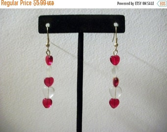 ON SALE Vintage Red Transparent White Heart Dangle Earrings 1104