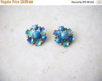 ON SALE Vintage 1940s Shades Of Blue Glass Cluster Clip On Earrings 8516
