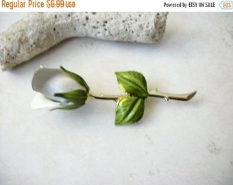 ON SALE Vintage 1960s Over Sized White Rose Enamel Pin 81716