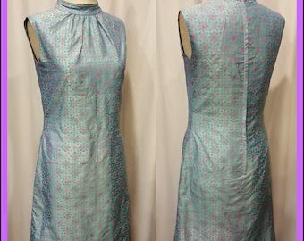 Beautiful Bright Sleeveless 1950's Silk Dress ~ Metal Zip up the Back ~