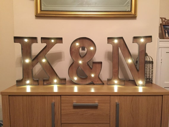 light up wall letters freestanding initials wooden rustic led light by 23444 | il 570xN.889640949 rwlc