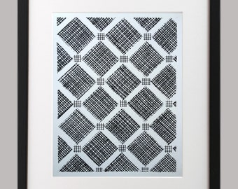 Original handmade modern acrylic black and white mixed media painting on heavy weight paper wall art