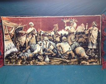 Vintage Middle Eastern Carpet Wall Art - Mounted Carpet Tapestry City Scape Wall Decor