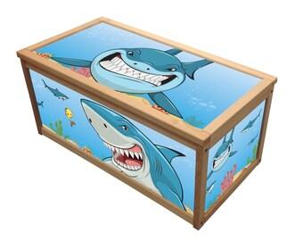 Shark- Wooden Toy Box / Chest Box Toybox