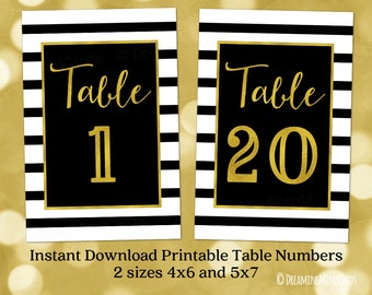 Printable Table Number Cards 1 to 20 Gold Black and White Stripes 4x6 and 5x7 Instant Digital Download Wedding Baby Shower Birthday