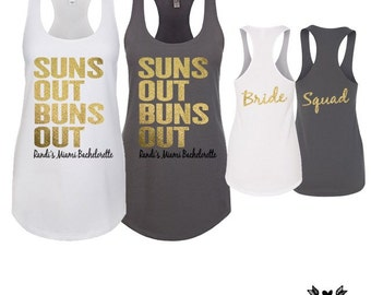 Beach Bachelorette, Suns out Buns Out, bridesmaid shirts, bachelorette party, bridesmaid gifts, drunk in love, bride tribe, cancun, hawaii