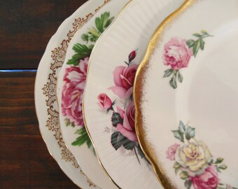 Set of 4 Vintage Mismatched Plates -Pink and Red Flowers- Mix and Match Plates - Floral Salad Plates - Shabby Chic Home Decor
