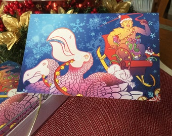 Christmas/Holiday Yeti and Dodo Holiday Card- Set of 10, Blank Inside
