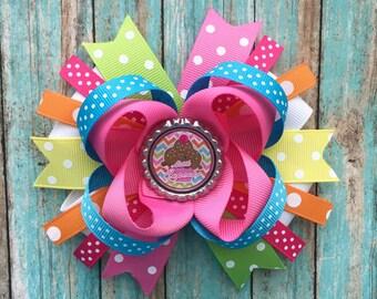 Little cupcake hair bow- cupcake OTT hair bow-happy birthday hair bow-birthday colorful hair bow-cupcake boutique hair bow- cupcake OTT bow