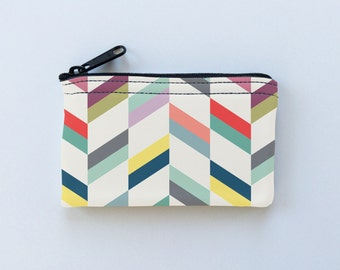 Herringbone Stripes Colorful Little Zipper Pouch - Stripes Coin Purse - Gadget Case Padded