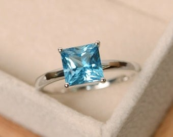 Blue topaz ring, princess cut ring, blue topaz, gemstone ring sterling silver
