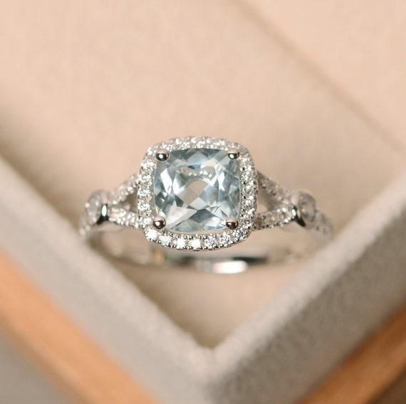 aquamarine ring cushion cut engagement ring wedding ring