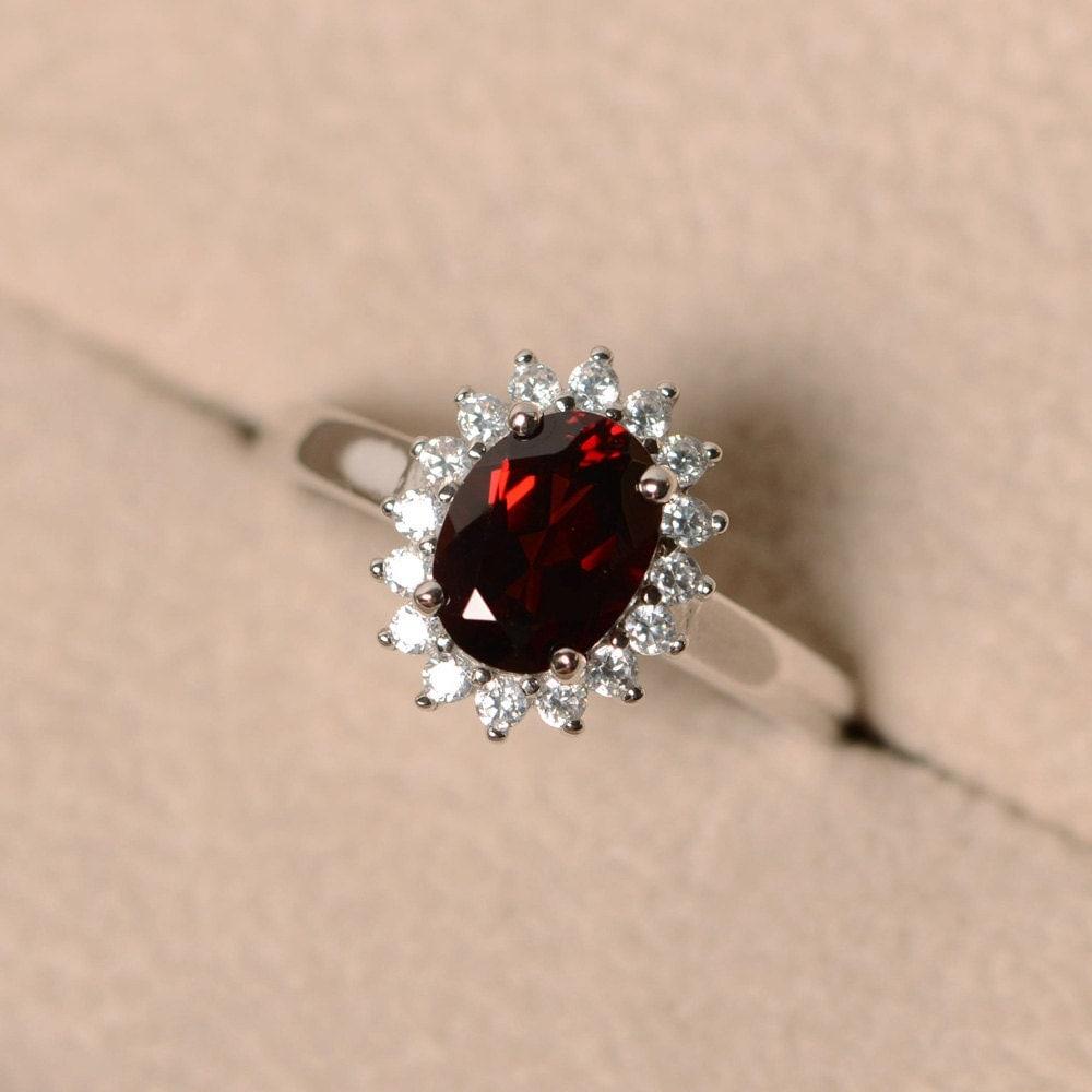Garnet Bands: Garnet Ring For Women Halo Garnet Engagement Ring January