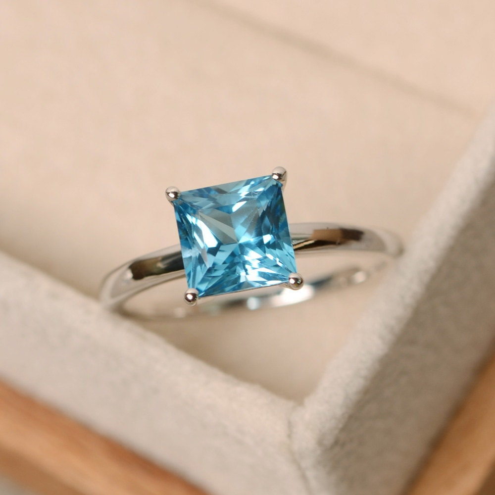 blue topaz ring princess cut ring blue topaz gemstone ring
