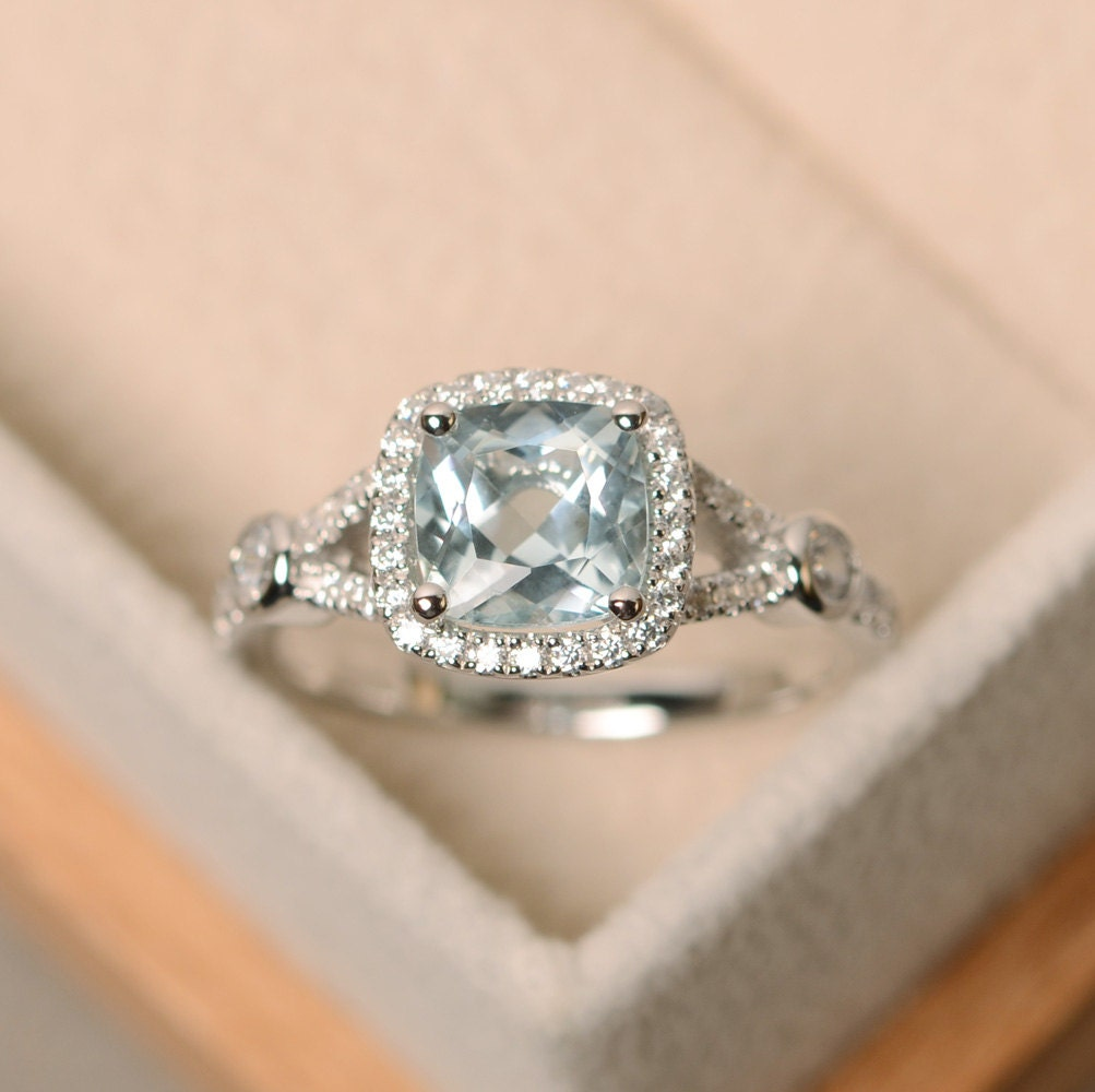 aquamarine ring cushion cut engagement ring wedding ring. Black Bedroom Furniture Sets. Home Design Ideas
