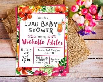 hawaiian luau baby shower invitation, hawaiian tropical invitation, Tropical baby shower invite, aloha baby shower invitation, luau invite