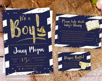 nautical baby shower invitation, nautical boy baby shower invitation, Navy and Gold BABY Shower Invitation, navy blue baby shower invitation