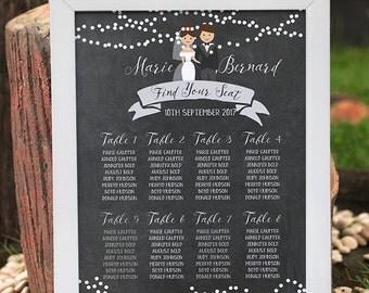 chalkboard Wedding Seating Chart Template, chalkboard seating poster, printable table plan, printable wedding seating chart, custom seating