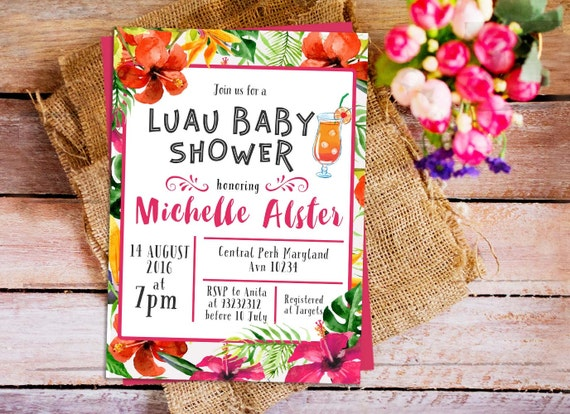 hawaiian luau baby shower invitation hawaiian tropical invitation