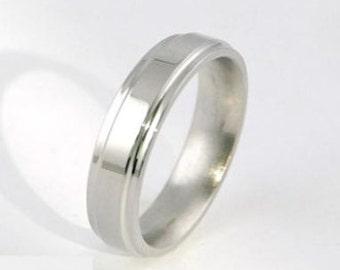 Slender Square Shiny Titanium Ring
