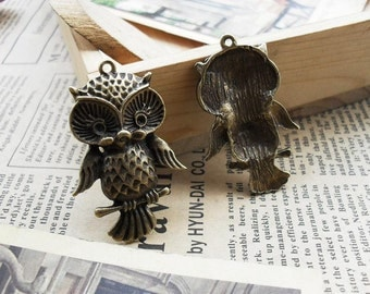 10 Owl Charms Antique Bronze Tone - WS424