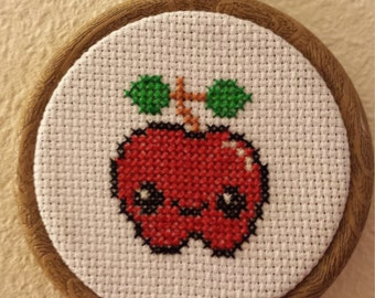 Cheeky Apple-Cross Stitch-Embroidery Hoop Frame